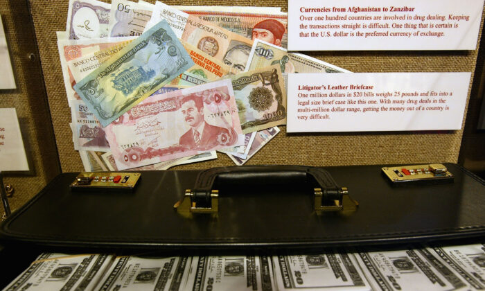 A money laundering exhibit is displayed at Target America: Drug Traffickers, Terrorists and You, a Drug Enforcement Administration (DEA) traveling museum exhibit, in a file photo. (Spencer Platt/Getty Images)