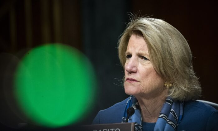 Sen. Shelley Moore Capito, (R-W.Va.) listens during a hearing on Capitol Hill in Washington on May 20, 2020. (Al Drago/Pool/Getty Images)