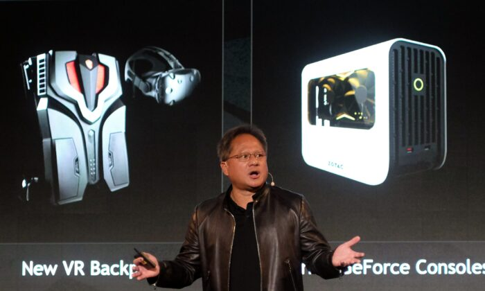 President and Chief Executive Officer of NVIDIA, Huang Jen-hsun speaks during the Computex Show in Taipei on May 30, 2017. (Sam Yeh/AFP via Getty Images)