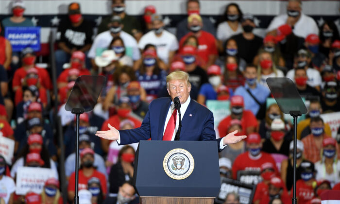 President Donald Trump speaks during a campaign event at Xtreme Manufacturing in Henderson, Nev., on Sept. 13, 2020. (Ethan Miller/Getty Images)