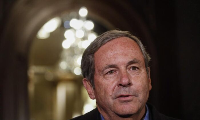 David MacNaughton, Canadian Ambassador to the United States, speaks to reporters at a Liberal cabinet retreat in Calgary on Jan. 22, 2017. (Jeff McIntosh/The Canadian Press)