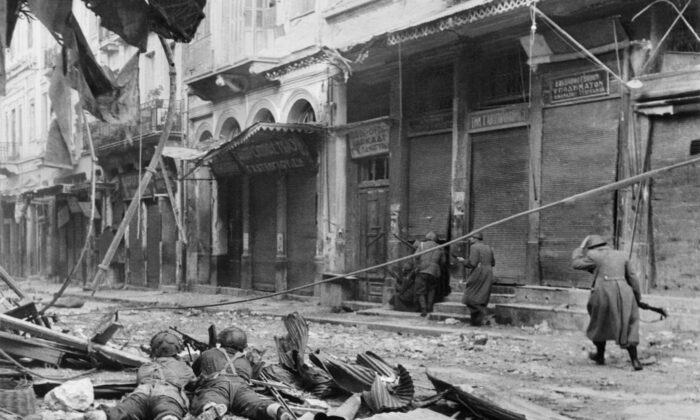 When at the end of World War II the Germans and Italians left Greece, the communists immediately asserted power. This photo was taken in December 1944, two weeks before the Greek Civil War began. (AFP via Getty Images)