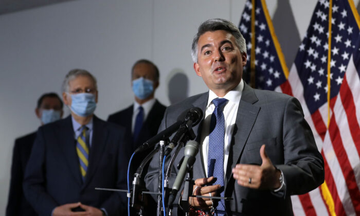 Sen. Cory Gardner (R-Colo.) talks to reporters in the Hart Senate Office Building on Capitol Hill in Washington on June 09, 2020. (Chip Somodevilla/Getty Images)