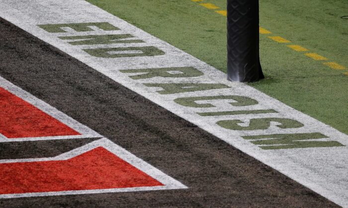 "The message ""End Racism"" is seen in the one end zone at Mercedes-Benz Stadium in Atlanta, Ga., on Sept. 13, 2020. (Kevin C. Cox/Getty Images)"