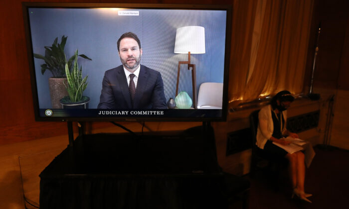 Google President for Global Partnerships and Corporate Development Donald Harrison testifies via live video feed before the Senate Judiciary subcommittee during a hearing on anticompetitive online advertising in the Hart Senate Office Building on Capitol Hill in Washington on Sept. 15, 2020. (Chip Somodevilla/Getty Images)