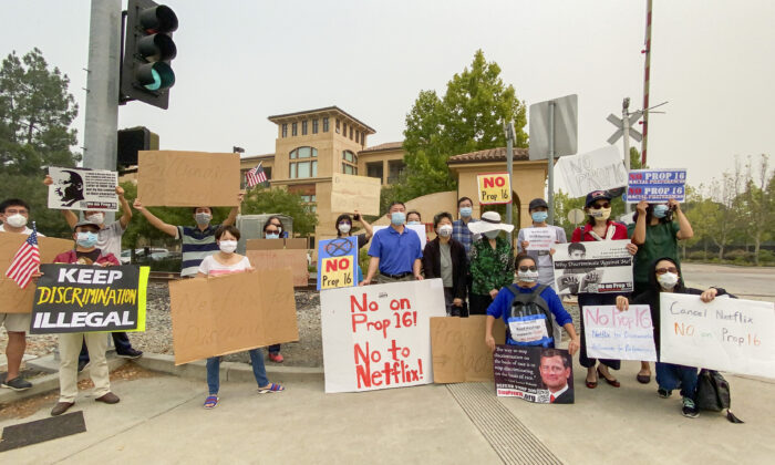 Protesters gather at the Netflix headquarters in Los Gatos, Calif., on Sept. 11, 2020, to decry a donation Patricia Quillin, wife of Netflix co-founder Reed Hastings, made to support Proposition 16. (Ilene Eng/The Epoch Times)