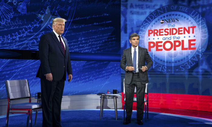 President Donald Trump talks with ABC News anchor George Stephanopoulos before a town hall at National Constitution Center in Philadelphia on Sept. 15, 2020. (Evan Vucci/AP Photo)