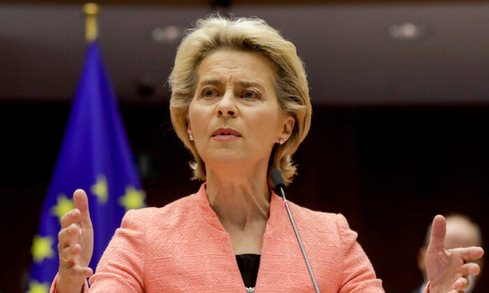 European Commission President Ursula von der Leyen gives her first State of the Union speech during a plenary session of European Parliament in Brussels, on Sept. 16, 2020. (Olivier Hoslet/pool via Reuters)