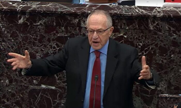 Alan Dershowitz, legal counsel for President Donald Trump, answers a question from a senator during impeachment proceedings in the Senate chamber at the U.S. Capitol in Washington on Jan. 29, 2020. (Senate Television via Getty Images)