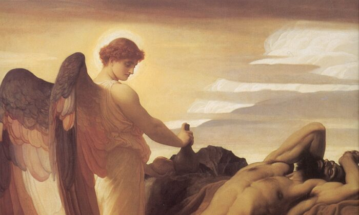 "Detail from ""Elijah in the Wilderness,"" 1878, by Frederic Leighton. Oil on Canvas, 92.5 inches by 82.6 inches. Walker Art Gallery, England. (Public Domain)"