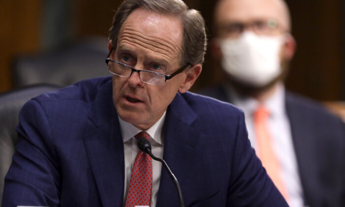 Sen. Pat Toomey (R-Pa.) speaks during a hearing at Dirksen Senate Office Building on Capitol Hill in Washington, on May 5, 2020. (Alex Wong/Getty Images)
