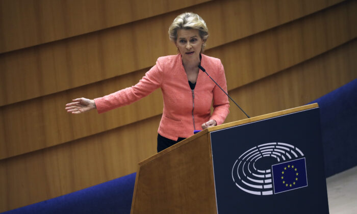 European Commission President Ursula von der Leyen addresses the plenary during her first State of the Union speech at the European Parliament in Brussels, on Sept. 16, 2020. (Francisco Seco/AP Photo)