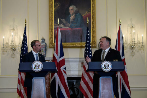 U.S. Secretary of State Mike Pompeo and British Foreign Secretary Dominic Raab hold a news conference at the State Department in Washington, U.S., September 16, 2020. (Nicholas Kamm/Pool/Reuters)