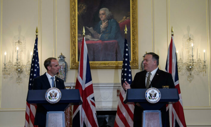 U.S. Secretary of State Mike Pompeo and British Foreign Secretary Dominic Raab hold a news conference at the State Department in Washington on Sept. 16, 2020. (Nicholas Kamm/Pool/Reuters)