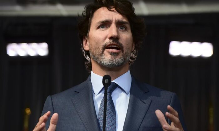 Prime Minister Justin Trudeau holds a closing press conference on the third and final day of the Liberal cabinet retreat in Ottawa, on Sept. 16, 2020. (The Canadian Press/Sean Kilpatrick)