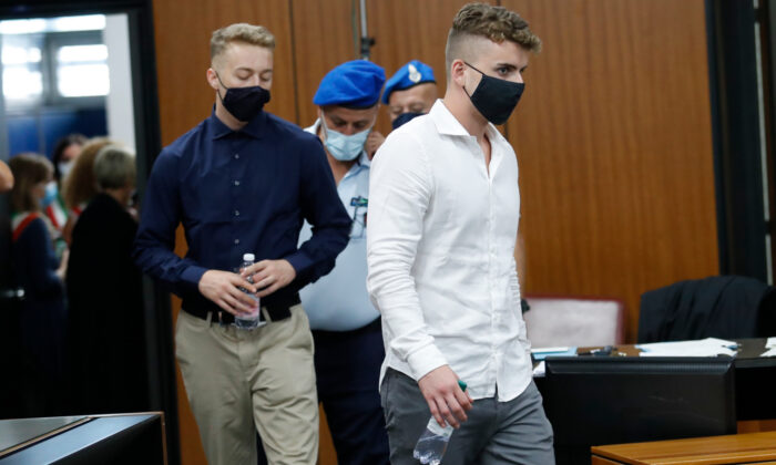 Gabriel Natale-Hjorth (R) and Finnegan Lee Elder, from California, arrive in court for a hearing in their trial where they are accused of slaying a plainclothes Carabinieri officer while on vacation in Italy last summer, in Rome, on Sept. 16, 2020. (Remo Casilli/Pool Photo via AP)
