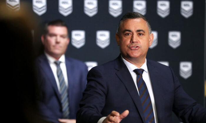 NSW Deputy Premier John Barilaro speaks to the media during a NRL media opportunity at Rugby League Central on August 10, 2020 in Sydney, Australia. (Mark Kolbe/Getty Images)