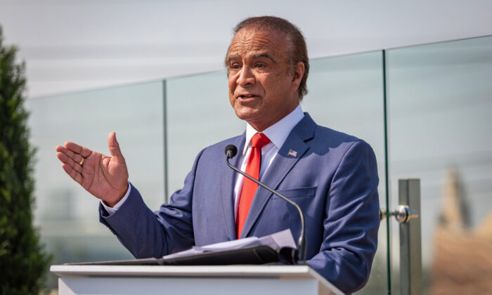 In this file photo, Anaheim Mayor Harry Sidhu discusses the need to reopen Orange County theme parks after they were closed due to the pandemic in Anaheim, Calif., on Sept. 16, 2020. (John Fredricks/The Epoch Times)