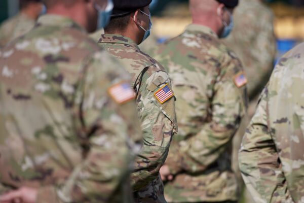 U.S. Army servicemen attend the opening of the Rapid Trident – 2020 international military exercises in Lviv Region