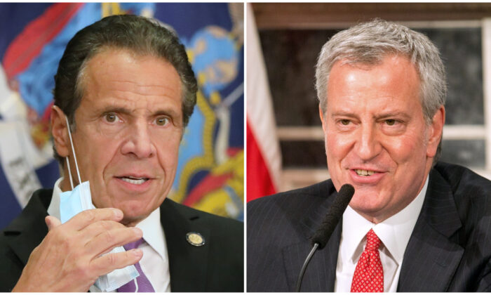 (L) New York state Gov. Andrew Cuomo speaks at a news conference in New York City on Sept. 8, 2020. (Spencer Platt/Getty Images) (R) Mayor Bill De Blasio speaks during a video press conference on the city's response to COVID-19 held at City Hall in New York City on March 19, 2020. (William Farrington-Pool/Getty Images)
