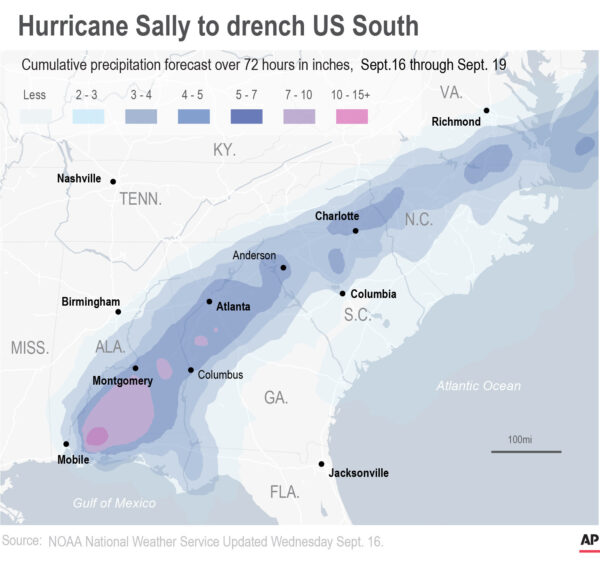 Map of Hurricane Sally