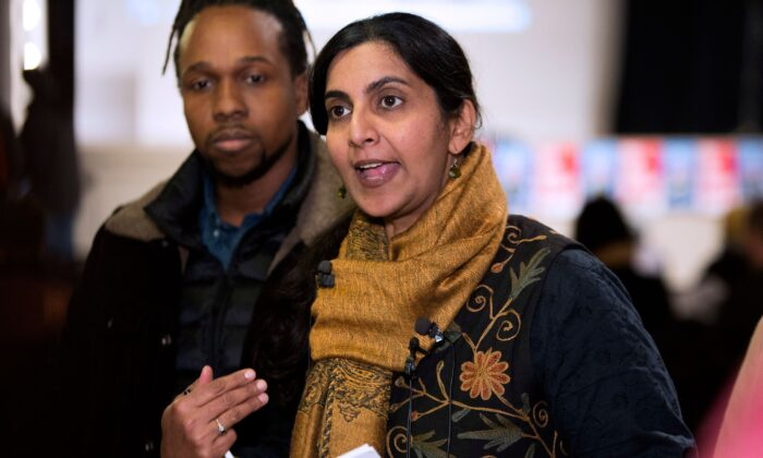 Seattle Councilwoman Kshama Sawant speaks to reporters in Seattle, Wash., on Jan. 13, 2020. (Jason Redmond/AFP via Getty Images)