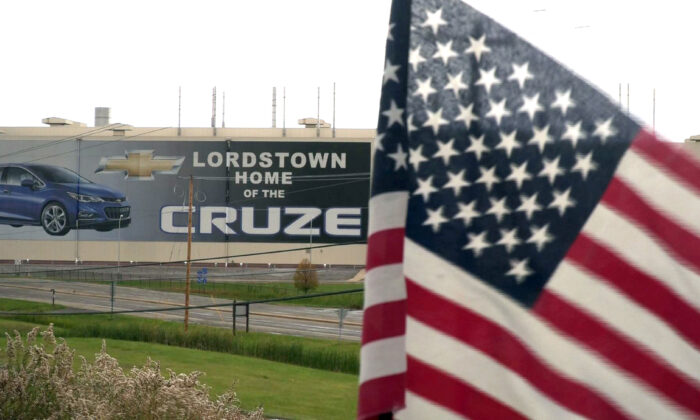 In this still image taken from video, a US flag flies near the Lordstown, Ohio, Chevrolet factory in the Rust Belt state of Ohio, where then-candidate Donald Trump unexpectedly earned significant support in 2016.(Eleonore Sens/AFP)