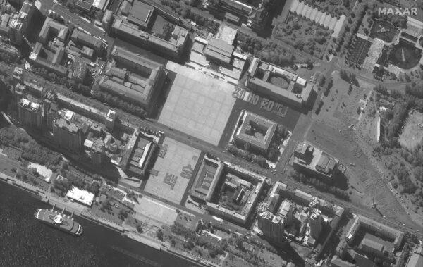 A satellite image of Kim Il Sung Square