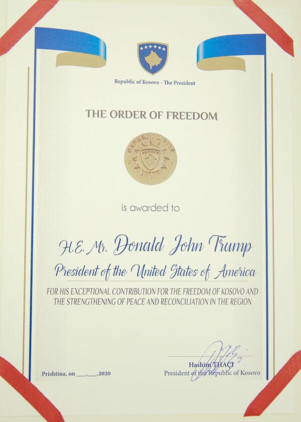 Kosovo honors Trump