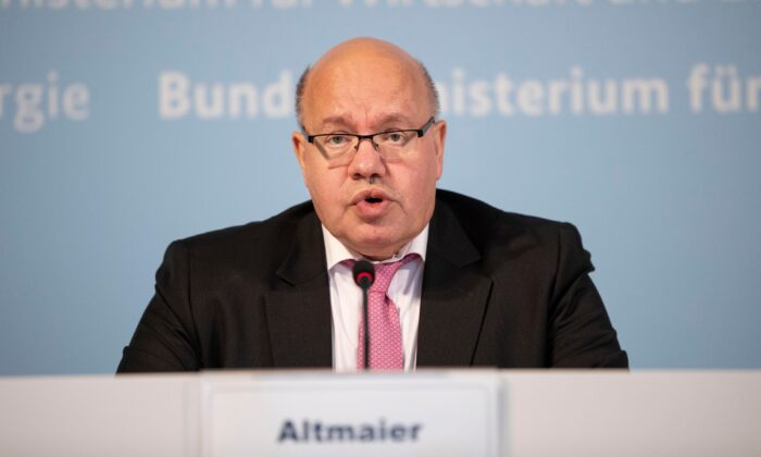 German Economy Minister Peter Altmaier gives a statement to the media in Berlin, on June 15, 2020. (Maja Hitij/Getty Images)