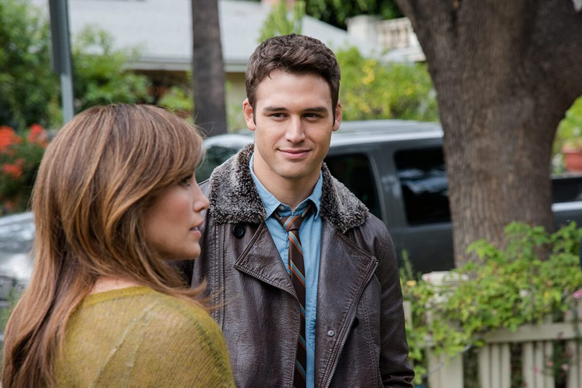 "woman and man in leather jacket in ""The Boy Next Door"""