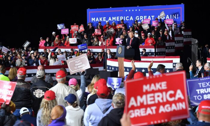 "President Donald Trump speaks to supporters at a ""Great American Comeback"" event at Central Wisconsin Airport in Mosinee, Wisconsin, on Sept. 17, 2020. (Mandel Ngan/AFP via Getty Images)"