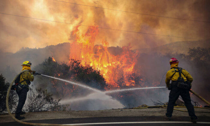 San Miguel County Firefighters battle a brush fire along Japatul Road during the Valley Fire in Jamul, Calif., on Sept. 6, 2020. (Sandy Huffaker/AFP via Getty Images)
