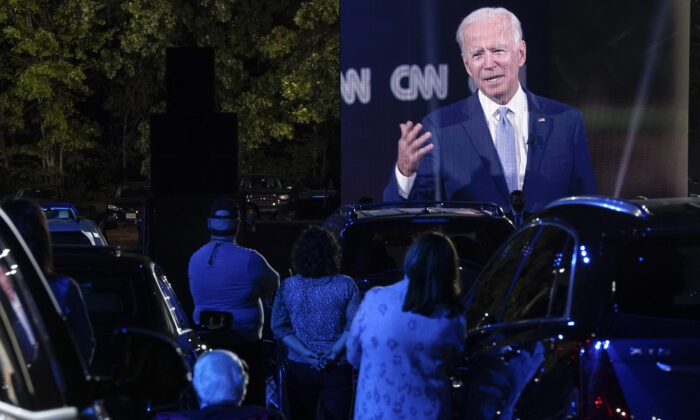 Audience members listen as Democratic presidential nominee and former Vice President Joe Biden participates in a CNN town hall in Moosic, Penn., on Sept. 17, 2020. (Drew Angerer/Getty Images)