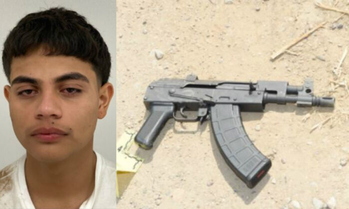 Luis German Espinoza Acuna, left, the suspect in the Sept. 17, 2020, ambush shooting of an Arizona detective, and the AK-47 pistol that Acuna allegedly used. (Arizona Department of Public Safety)