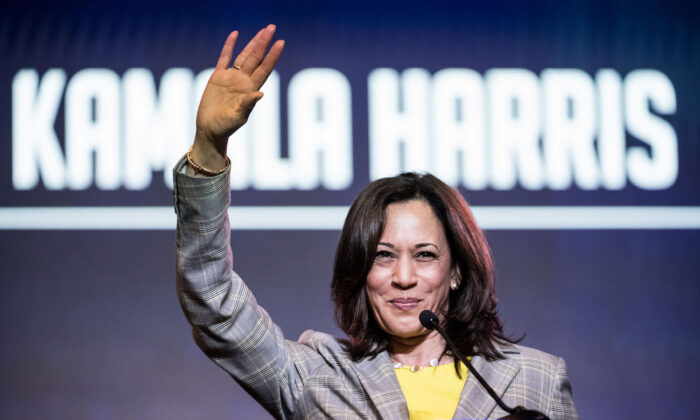 Sen. Kamala Harris (D-Calif.) addresses the crowd at the 2019 South Carolina Democratic Party State Convention in Columbia, South Carolina, on June 22, 2019. (Sean Rayford/Getty Images)