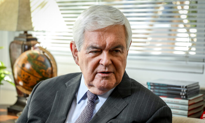 Former House Speaker Newt Gingrich (R-Ga.), in Washington on Oct. 24, 2019. (Samira Bouaou/The Epoch Times)