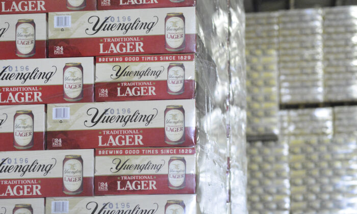 Cases of canned Yuengling Traditional Lager are stacked in the warehouse of the D.G. Yuengling & Son Brewery Mill Creek plant on Tuesday, July 21, 2020. (Lindsey Shuey/The Republican-Herald)