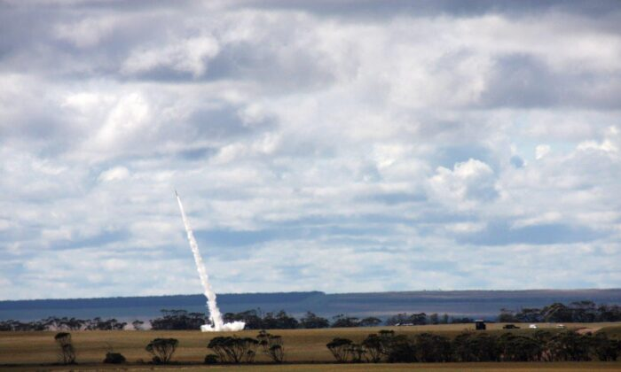 A DART rocket carrying a Royal Australian Air Force payload was launched from Koonibba Rocket Range in South Australia on Sept. 19 2020. (Sean Jorgensen-Day, DEWC Systems Engineer)