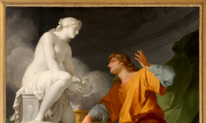 """Do words cast a spell that creates? Pygmalion, through the words of prayer to a goddess, brings his beloved statue to life. ""Pygmalion Praying Venus to Animate His Statue,"" 1786, by Jean-Baptiste Regnault. Palace of Versailles. (Public Domain)"""