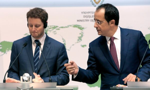 France's Minister for European Affairs Clement Beaune, left, and Cyprus' Foreign Minister Nikos Christodoulides take part in a news conference at the Foreign Ministry building in the capital Nicosia.