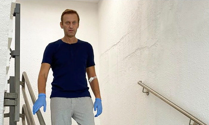 Russian opposition politician Alexei Navalny goes downstairs at Charite hospital in Berlin, Germany, in this undated image obtained from social media, on Sept. 19, 2020. (Courtesy of Instagram @NAVALNY/Social Media via Reuters)