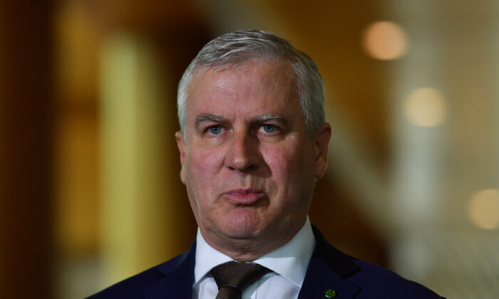 Deputy Prime Minister Michael McCormack during a press conference in the Mural Hall at Parliament House in Canberra, Australia on Aug. 26, 2020. (Sam Mooy/Getty Images)