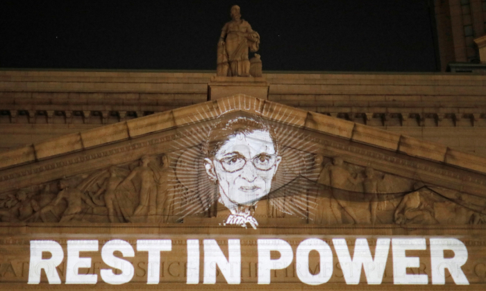 An image of late Supreme Court Justice Ruth Bader Ginsburg is projected onto the New York state civil Supreme Court in Manhattan on Sept. 18, 2020. (Andrew Kelly/Reuters)