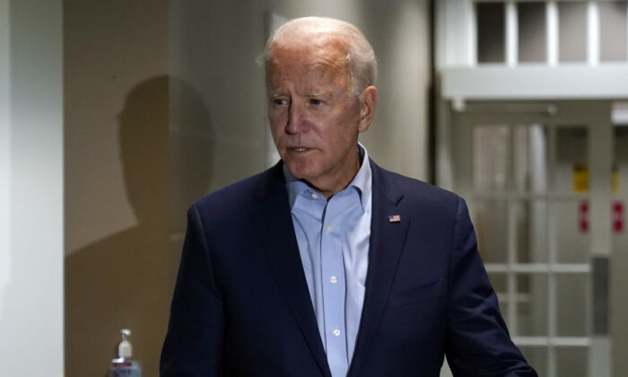 Democratic presidential candidate Joe Biden speaks about the death of Supreme Court Justice Ruth Bader Ginsburg after he arrives at at New Castle Airport in New Castle, Del., on Sept. 18, 2020. (Carolyn Kaster/AP Photo)