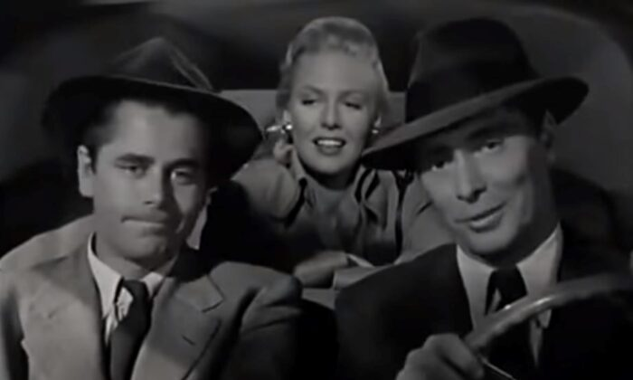 """(L–R)  Fallen on hard times, Mike Lambert (Glenn Ford) falls in with two schemers: Paula (Janis Carter) and Steve (Barry Sullivan), in """"Framed."""" (Columbia Pictures)"""