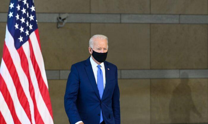 Democratic presidential nominee Joe Biden enters the hall at the National Constitution Center in Philadelphia, Penn., on Sept, 20, 2020. (Roberto Schmidt/AFP via Getty Images)