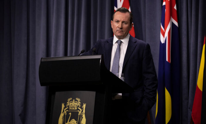 Western Australian Premier Mark McGowan speaks during a media conference at Dumas House in Perth, Australia on Sept. 4, 2020. (Matt Jelonek/Getty Images)