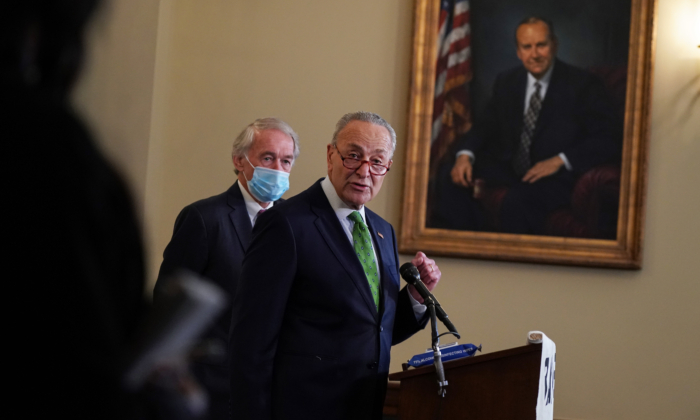 Senate Minority Leader Chuck Schumer (D-N.Y.) speaks at the Back the Thrive Agenda press conference at the Longworth Office Building in Washington on Sept. 10, 2020. (Jemal Countess/Getty Images for Green New Deal Network)