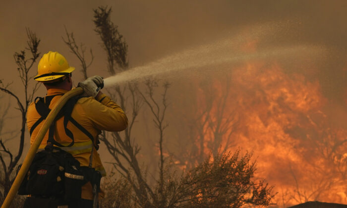 Jesse Vasquez, of the San Bernardino County Fire Dept., hoses down hot spots from the Bobcat Fire in Valyermo, Calif., on Sept. 19, 2020. (Marcio Jose Sanchez/AP Photo)